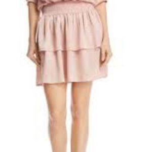 Pink silk tiered skirt